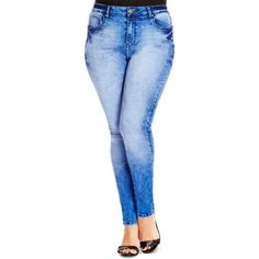 City Chic Faded Skinny Jeans in Mid Denim ($97) ❤ liked on Polyvore featuring jeans, mid denim, plus size, faded jeans, skinny jeans, denim jeans, womens plus size jeans and skinny fit jeans