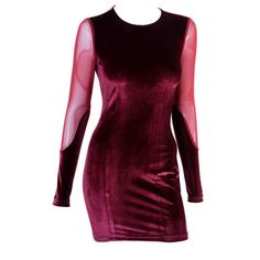 Red Velvet Dress with Sheer Details ($111) ❤ liked on Polyvore featuring dresses, purple dress, see through dress, purple velvet dress, sheer dress and transparent dress