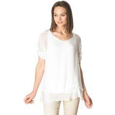 White adjustable sleeves silk blouse