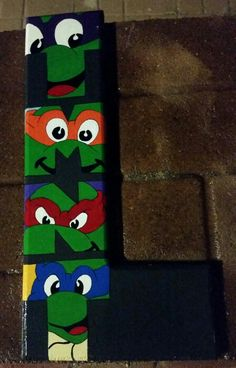 Ninja turtle letter Diy Letters, Wood Letters, Ninja Turtle Party, Ninja Turtles, Letter Door Hangers, Craft Day, Crafts For Boys, Kids Wood, Boy Room