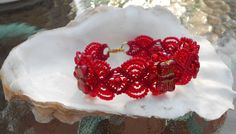 Red Beaded Micro Macrame Bracelet featuring 3 Red Glass Butterfly Beads via Etsy