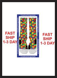 Custom Nike Elite Socks Lego colors by creativechicagostyle