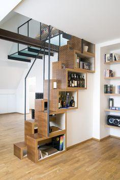 interior stairs design: wooden staircase design with storage by Iroonie Stair Bookshelf, Staircase Storage, Loft Stairs, Stair Storage, House Stairs, Dvd Storage, Hidden Storage, Cube Storage, Storage Organization