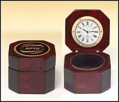 Rosewood Hinged Desk Clock Box
