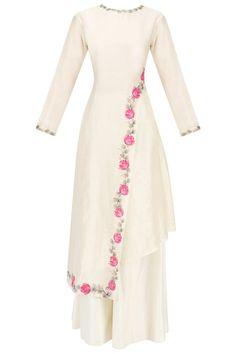 Baavli presents Offwhite Handpainted Kurta set available only at Pernia's Pop Up Shop. Abaya Fashion, Muslim Fashion, Indian Fashion, Fashion Dresses, Pakistani Dresses, Indian Dresses, Indian Outfits, Kurti Designs Party Wear, Kurta Designs