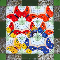Kaleidoscopic - Fused Mosaic Butterfly Quilt by Wesley's Glass/Mosaics, via Flickr
