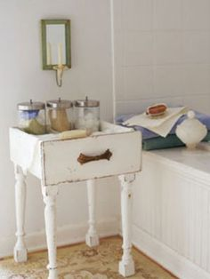 Flea markets are the perfect place to rescue unwanted odds and ends that still have potential. Legs have been added to this drawer using 3-inch sheet-metal screws. Add some paper or fabric lining, and a cast-off drawer gets new life as a table.