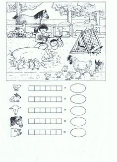 Werkblad: zet evenveel stippen als dieren en tel ze bij elkaar Math For Kids, School Worksheets, Kindergarten Worksheets, Animal Activities, Infant Activities, Boredom Busters For Kids, Baby Quiet Book, Math Test, Homeschool