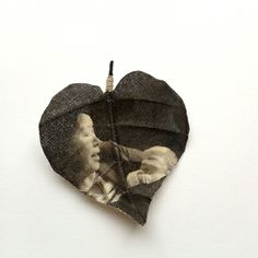 Custom made heart shaped leaf brooch printed with your photograph