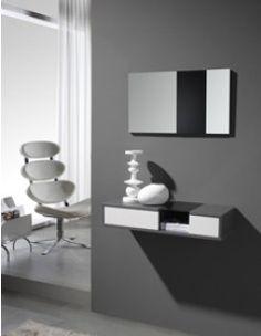 Meuble d\'entrée moderne + miroirs GLORIA, coloris blanc et gris ...