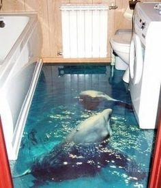 unique bathroom floors! ha ha this goes with the fish tank sink!!!