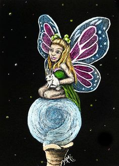 NFAC Stars Panet Space - ACEO Scratchboard Art  MARCH FAIRY Fantasy Bunny Rabbit #Miniature