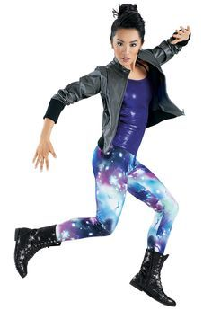Leather Jacket Galaxy Legging -Weissman Costumes This is the exact costume for level 5 hiphop class that we had for the showcase Duo Costumes, Hip Hop Costumes, Cute Dance Costumes, Dance Fashion, Hip Hop Fashion, Fashion 101, Hip Hop Dance Outfits, Galaxy Leggings, Dance Poses
