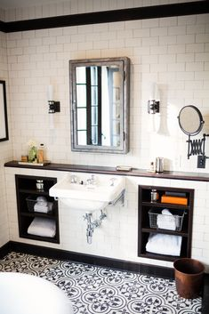 Our Syre vanity basin in a striking industrial interior at the Californian Retreat, designed by Deirdre Doherty @ddidesigns Bathroom Counter Decor, White Bathroom Tiles, Bathroom Floor Tiles, Bathroom Furniture, Bathroom Ideas, Bathroom Storage, White Tiles, Bathroom Organization, Master Bathroom
