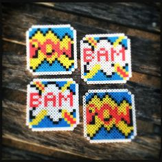 Comic Inspired Perler Coasters by HGsUniqueBoutique on Etsy, $12.00