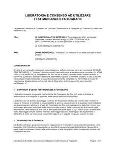 Liberatoria e consenso ad utilizzare testimonianze e fotografie - Modelli e esempi di moduli | Biztree.com