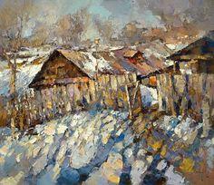 Por amor al arte: Alexi Zaitsev Painting Snow, Winter Painting, Painting & Drawing, Russian Painting, Russian Art, Landscape Art, Landscape Paintings, Russian Landscape, Icelandic Artists