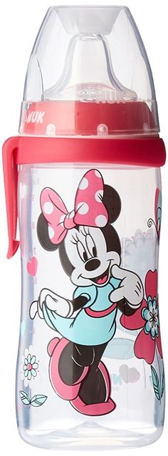 kids MINNIE MOUSE plastic water bottle sippy w// handle children girls 16oz