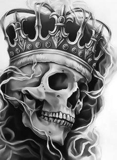 King Crown Tattoo, Crown Tattoo Design, Queen Tattoo, Skull Tattoo Design, Tribal Tattoos, Skull Tattoos, Hand Tattoos, Sleeve Tattoos, Tattoos For Women Half Sleeve