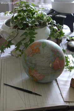 globe ancien  Brocante atelier cosy.fr