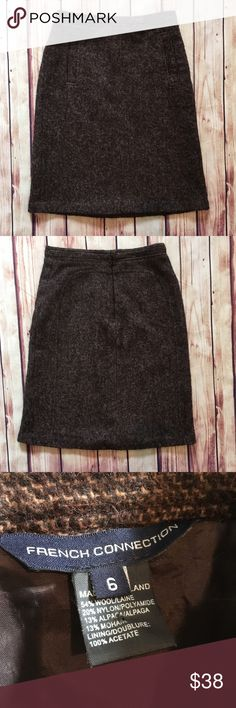 FRENCH CONNECTION Wool Mohair Blend Pencil Skirt This French Connection pencil skirt is a beautiful addition to the fall & winter wardrobe. Excellent with tights and boots 😍  Wool/ nylon/ alpaca/ mohair blend in a tweedy look design, fully lined for comfort in 100% acetate. Luxe skirt made in Poland. Beautiful rust colors. Hook and eye close with hidden zip. No stretch. Faux front slit appearance pockets.  Size 6, measurements are approximate: - 14 inches across waist  - 18 inches across…