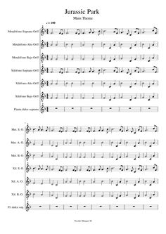 Jurassic Park Theme.  Start M.25 to avoid f#    Sheet music made by NicolásMárquez for 7 parts: Metalófono Soprano Orff, Metalófono Alto Orff, Metalófono Bajo Orff, Xilófono Soprano Orff, Xilófono Alto Orff, Xilófono Bajo Orff, Flauta dulce soprano