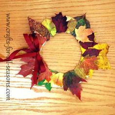 Collect Fall leaves, glue them on a cut out paper plate, and create this autumn leaf wreath.  From Crafts For All Seasons