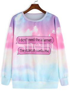 Multicolor Long Sleeve Letters Print Sweatshirt 12.99