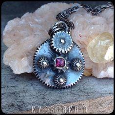 @eyescream_jewelry Working on the #silveralchemy collection on the #EyescreamJewelry website.  #Eyescream #eyescreamnecklaces #finesilver #artclaysilver #pinktopaz #topaz #steampunk #Riojeweler #EyescreamShop #steampunkjewelry #torchfired