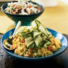 This easy side combines common flavors of Morocco: saffron-enhanced couscous balanced with zucchini and carrots. Serve it with a tagine to soak up the sauce.