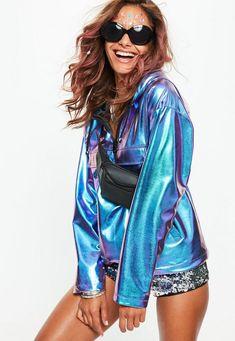 Blue Metallic Wind Breaker Jacket