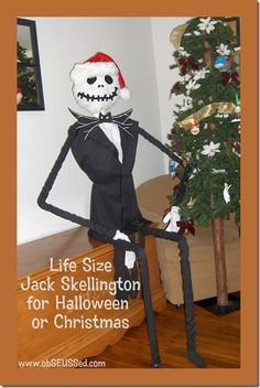#DIY make your own life-size #jackskellington for #Halloween using PVC pipe - display on porch {Nightmare Before Christmas}