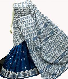 Blue Hand Embroidered Kantha Work Silk Saree