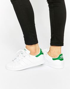 Image 1 of adidas Originals White And Green Stan Smith Trainers