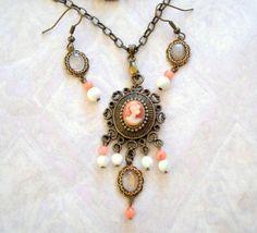 Lovely Vintage Style Cameo Lady Pendant Necklace by joyceshafer, $28.95