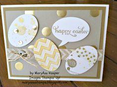 Gold and White Easter Card http://maryannstamps.blogspot.com/2014/04/golden-easter-eggs-easter-card.html