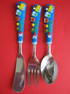 Children's Flatware Personalized Cutlery for Kids Gift for Birthday Baby Train Name Unique Silverware Spoon Custom Fork Knife Custom Order Unique Gifts For Girls, Gifts For Kids, Cutlery Set, Flatware, Clay Mugs, Personalized Christmas Gifts, Photo Charms, Polymer Clay Crafts, Cold Porcelain