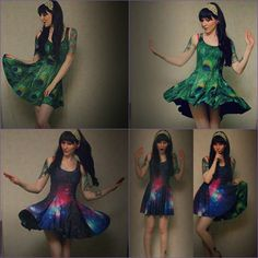 reversible peacock/galaxy print skater with lovely fit // black milk