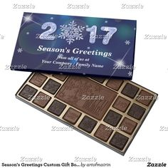 Merry Christmas and a Happy New Year 2017. Christmas Gift 45 Piece Assorted Chocolate Box with personalized Company or Family name and text. A Perfect Sweet Gift for a Christmas Season for your customers, business partners, employees or for your loved ones. Matching cards, postage stamps and other products available in the Christmas & New Year Category of the artofmairin store at zazzle.com
