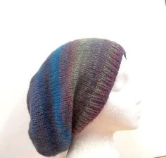 Colorful knit Beanie Beret wool acrylic Slouch Hat  by CaboDesigns, $26.00