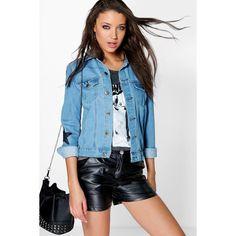 Boohoo Tall Tall Gigi Star Print Denim Jacket (730 UYU) ❤ liked on Polyvore featuring outerwear, jackets, mid blue, longline jacket, jean bomber jacket, wrap jacket, blue bomber jacket and quilted bomber jacket