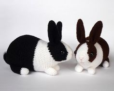 """You could use any yarn weight for these bunnies as long as you choose a fitting hook, it will only influence the finished size. My example rabbits were made with DK yarn and 3mm hook, they are about 8"""" long and 6"""" tall to the tip of the ears. The pattern is 9 pages long with many photographs illustrating the process. It is written in English with US crochet terms. Stitches and techniques used: starting with magic ring, chain, slip stitch, single crochet, single crochet increase, inv..."""
