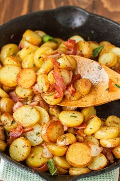 Whether for a hearty breakfast, or a side dish to a gourmet meal, these pan-fried fingerling potatoes are simple, crispy, and absolutely delicious!:
