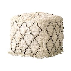 Seat yourself in boho-chic style. Our Fringed Pouf is made with soft quilted cotton, sequins, and fringe for plenty of feminine charm. Its neutral hue and metallic accents add to its overall versatilit... Find the Fringed Pouf, as seen in the Handwoven Bohemian Home Collection at http://dotandbo.com/collections/handwoven-bohemian-home?utm_source=pinterest&utm_medium=organic&db_sku=129618