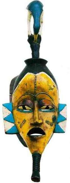Guro (Guru, Kweni) Mask from the Ivory Coast. Arte Tribal, Tribal Art, African Masks, African Art, Totems, Statues, Mask Images, Bird Masks, African Sculptures