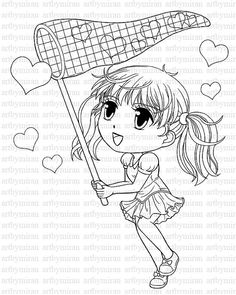 Digi Stamp Cute Girl Coloring page Heart Digital by artbymiran, $2.00