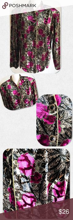 "Dress Barn Collection Velveteen Floral Jacket My words and pics do not do this Jacket the justice it deserves. This velveteen Jacket is absolutely gorgeous. Looks Asian inspired. Gold piping detail around the button up front and neckline. Decorative buttons. Floral print pattern with gold threading details within the flowers. Fully lined. Has shoulder pads which I'm sure could be removed if you wish. Size 18W. True to size. Shoulder to shoulder measures 19"". Bust measures 24"" Buttoned…"