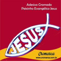 """O peixe é um dos principais símbolos do cristianismo, e simboliza a provisão de Deus. O Adesivo Cromado """"Peixinho Evangélico Jesus"""" faz parte da linha de produtos Religiosos da Cromarca para o público cristão que deseja multiplicar a mensagem de Jesus com esse produto de alta qualidade e design diferenciado. Fácil de aplicar em qualquer lugar.  Adquira já o seu !! http://www.cromarca.com.br/adesivo-cromado-peixinho-evangelico-jesus"""