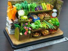handmade clay vegetable stalls
