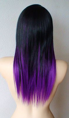 Black and purple #ombre #ombrehair #dyedhair #blackhair #purplehair #purpletips #straighthair